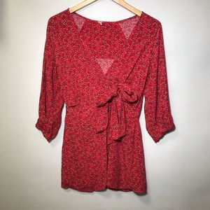 Free People red yellow floral front tie blouse